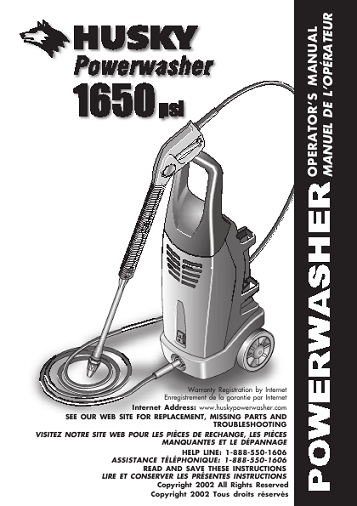 Husky Pressure Washer Manuals Need An Owners Manual